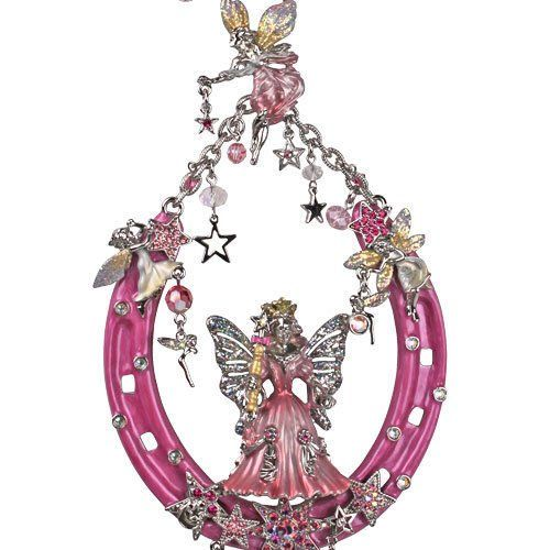 Kirks Folly Fairy Godmother Protected by Fairies Lucky Horseshoe Ornament silvertone / pink Kirks Folly