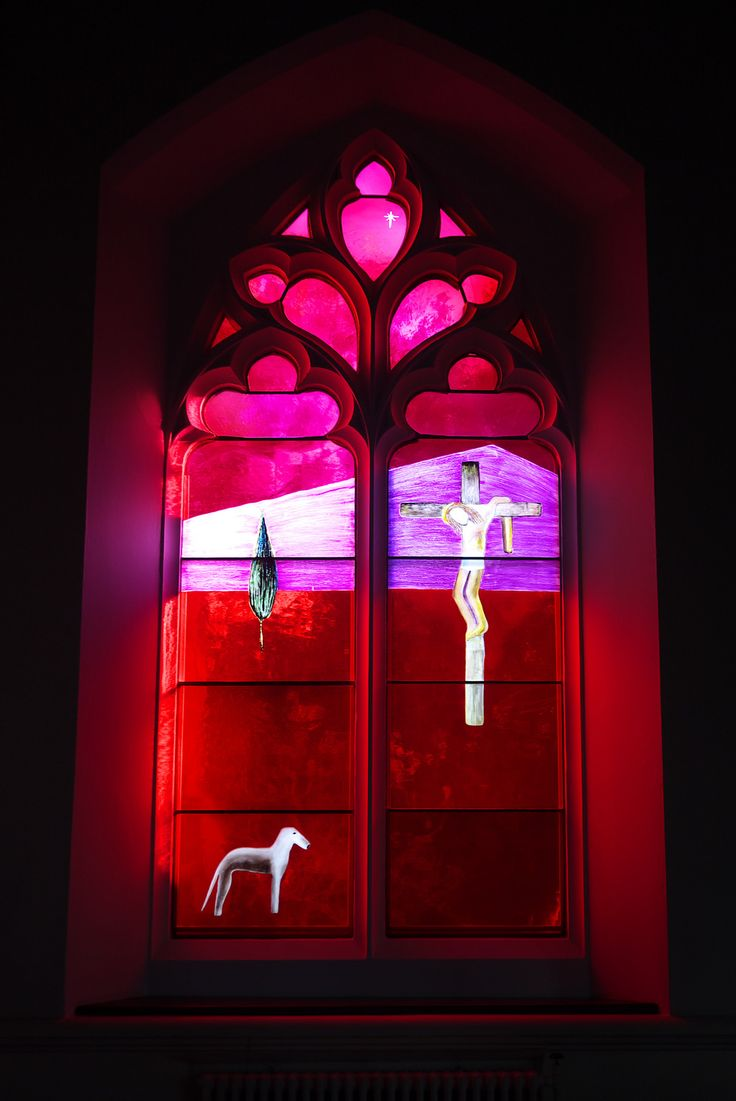 Crucifixion in red and pink
