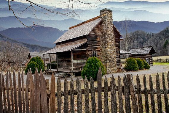 Appalachian Cabin, Mountain Cabin, Wood Cabin, Picket Fence, Smoky Mountain, National Park, North Carolina, Fine Art Landscape Photograph