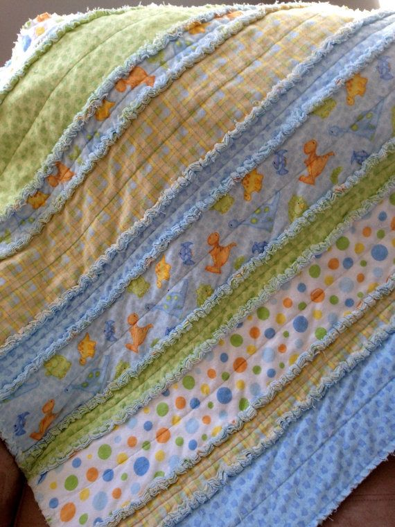 Flannel Rag Quilt: Dinosaurs soft blue by ShellySQuiltsandMore