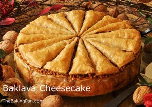Baklava Cheesecake.......OMG this looks delicious.....but ohhhh so sweet.