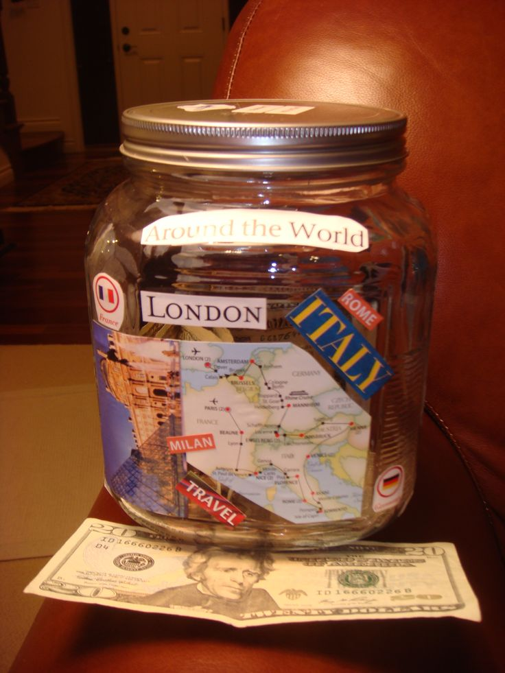 """My """"Vacation"""" jar I made....need to save more money!!"""