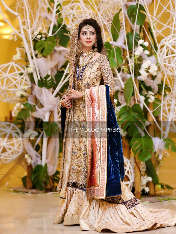 cream dress with lehenga with tail and blue dupatta | nikah or walima dress | regal and royal | the videographers