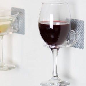 Wine Time in the bath tub- removable wine glass hook... GENIUS
