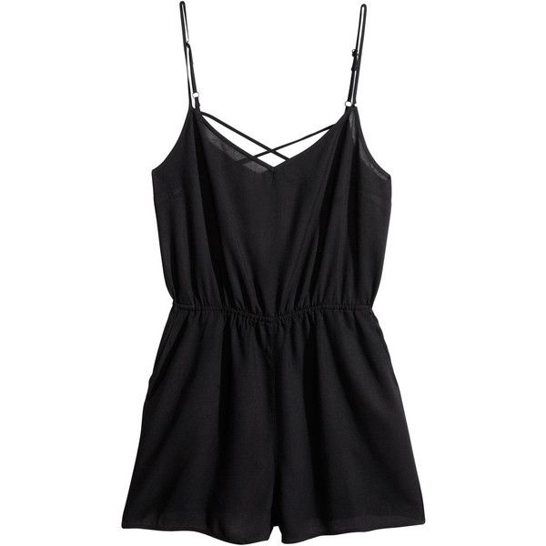 H&M Jumpsuit ($6.26) ❤ liked on Polyvore featuring jumpsuits, rompers, dresses, jumpsuit, playsuits, black, v neck jumpsuit, black jumpsuit romper, black short romper and black rompers