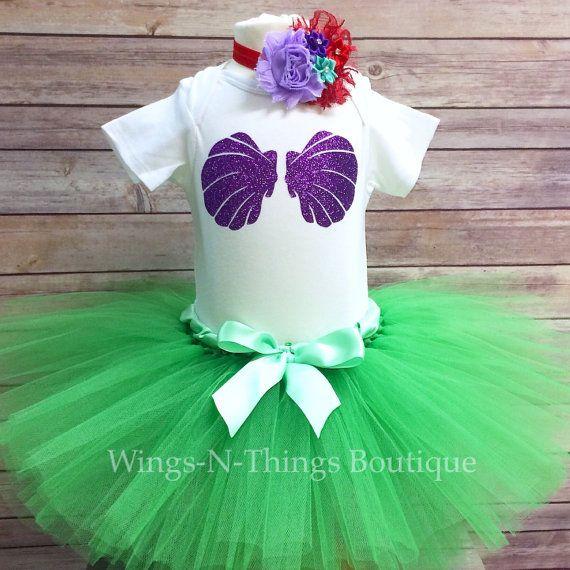 BABY MERMAID COSTUME Tutu Skirt 3pc Set w/ by wingsnthings13