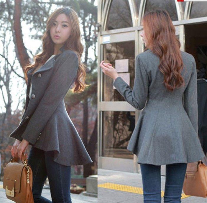 New Fashion Korean design women Slim Wool Coat Irregular Long Blazer Winter Outwear $29.87