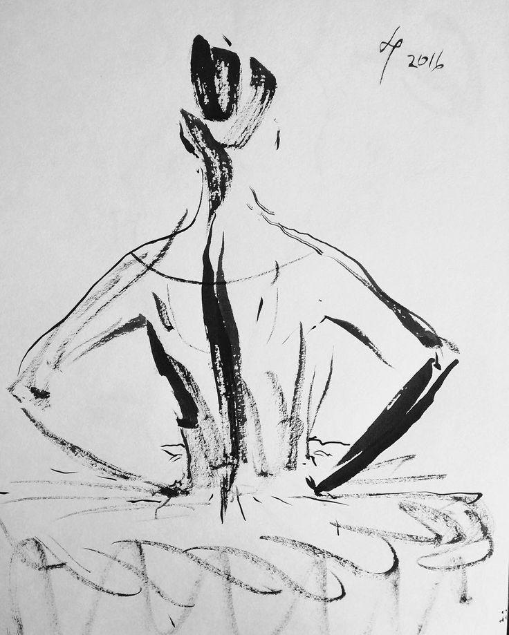 Backstage sketches, ink stick on paper #andreyremnev #skatch #dance
