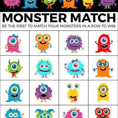 Printable Monster Mash Halloween bingo cards for kids