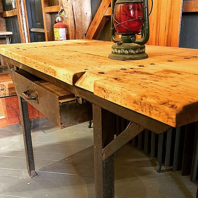 This reclaimed factory work bench is great as a table in a rustic cottage, an island in a modern home, or a desk in an industrial loft!...also good as a work bench in a factory, I guess. #reclaimed #interiordesign #rusticdesign