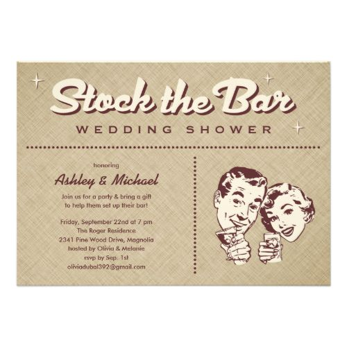 Stock the bar shower invitations with a retro themed design. Customize the wording for your party needs. #stock #the #bar #stock #the #bar #party #cocktail #stock #the #bar #invitations #for #stock #the #bar #retro #stock #the #bar #stock #the #bar #shower #vintage #stock #the #bar #stock #the #bar #housewarming #party #housewarming #stock #the #bar #fun #stock #the #bar