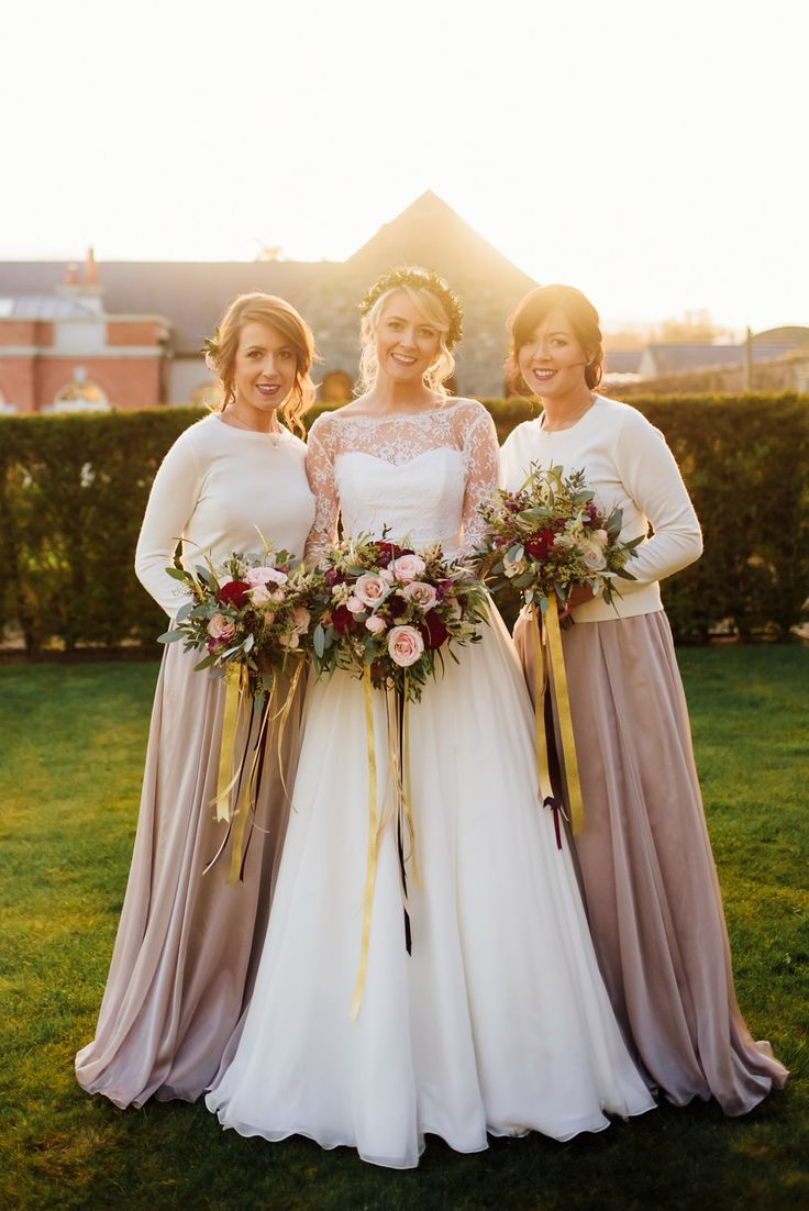 Best Bridesmaid Taupe Dresses U Cream Jumper Combo Red Gold Rustic Winter Wedding At The With Christmas