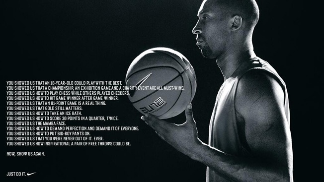 Nike Honors and Challenges Kobe Bryant in Inspirational New Ad