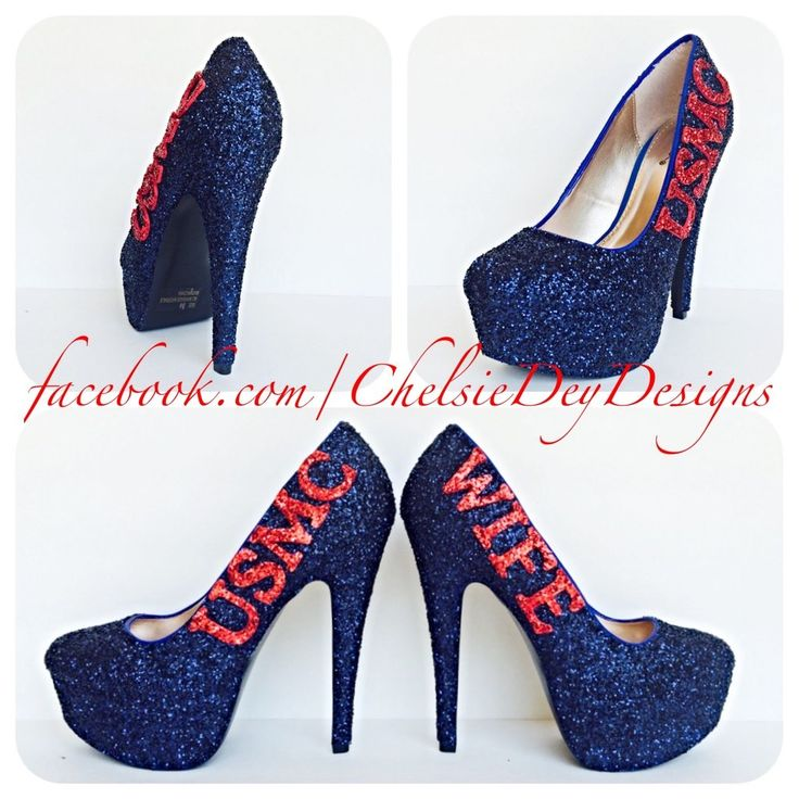 "USMC Blue Glitter High Heels, Marine Corps Wife Sparkly Wedding Pumps 4"" heel with red bow on back"
