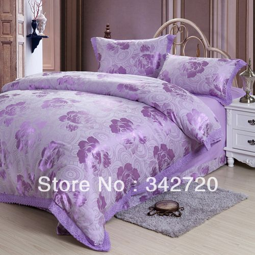 king/queen size bedding set luxury jacquard bedclothes purple bed sheet sets bed linen home textile