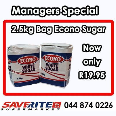Cash in on this magnificent price on Econo White Sugar for only R19.95, while stocks last at Saverite Supermarket York Street. #groceries #essentialsgroceries #supermarket