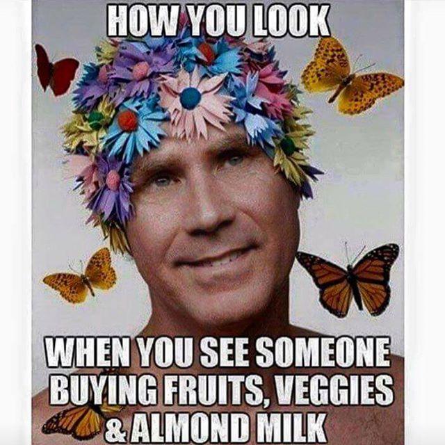 How you look when you see someone buying fruits, veggies & almond milk / vegan meme / vegan humor / vegan lilfestyle