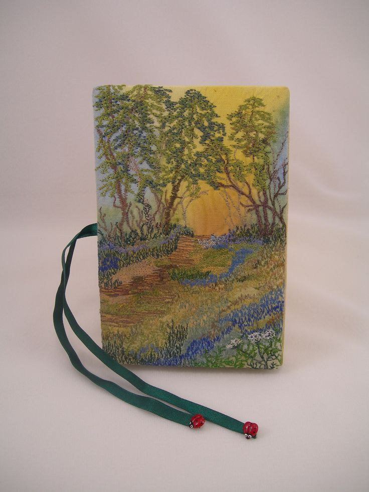 machine embroidered book cover.