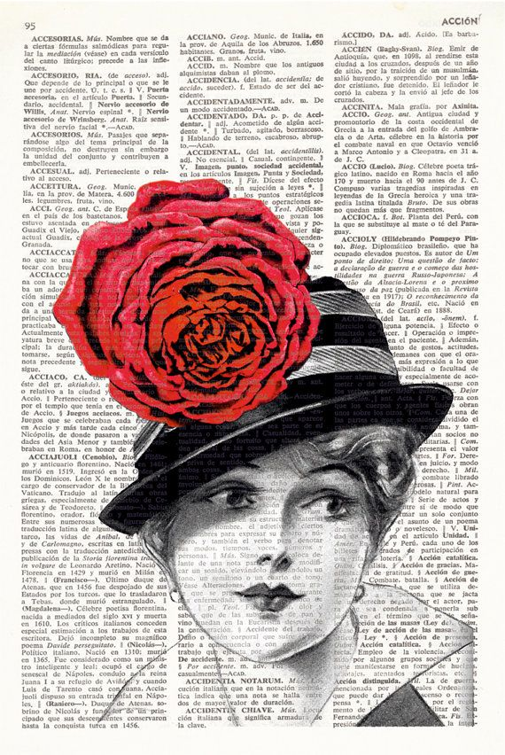 WOMAN WITH FLOWER Dictionary Art Print Old fashion woman with