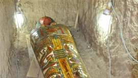 """Millennia-old mummy found in Egypt tomb: Spanish archaeologists discover 1,000-year-old mummy in """"very good condition"""" near Luxor in southern Egypt."""
