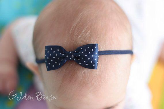 Navy Baby Headband Bows - Navy Micro Polka Dot Bow Handmade Headband - Baby to Adult Headband