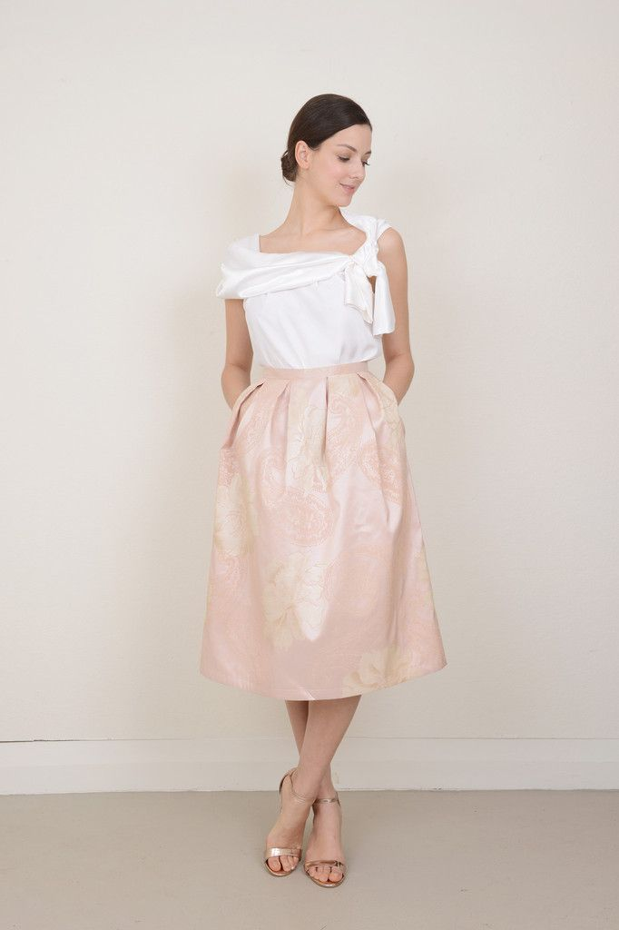 Briar Pleated Skirt in Blush Peony