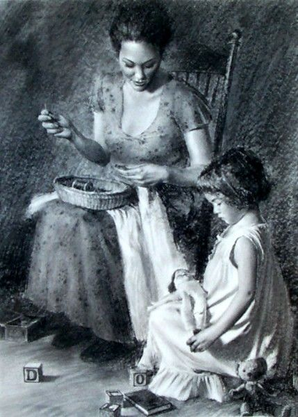 Loren Entz (1949, American)  What a beauty rendition of a mother and daughter in a moment of purity.