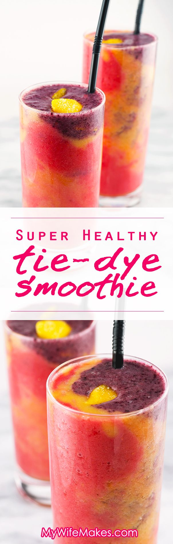 Super Healthy 'Tie Dye' Fruit Smoothie - 4 delicious coconut water based fruit Smoothies in one colorful glass! #healthy #smoothie #vegan #vegetarian #fruit #drink #recipe #tie-dye #coconut