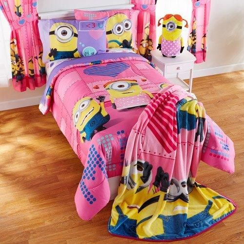 Watermelon Pink Minions Girl 'Way 2 Cute' Comforter Twin Full Blue Yellow Color Despicable Me Minion Mayhem Animated Movie Characters Pattern Kids