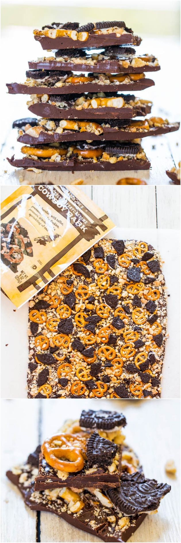 Cowboy Bark: Trader Joe's Copycat Recipe - Just like the real thing & ready in 5 minutes. Salty-and-sweet & supremely good! AverieCooks.com #snacks #appetizers #pretzels @Averie Sunshine {Averie Cooks}