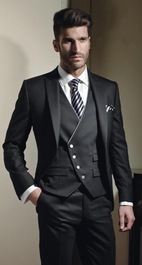 Classic Style One Button Black Groom Tuxedos Groomsmen Mens Wedding