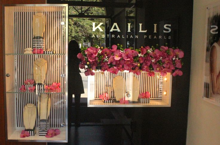 Window Displays for Pearls Kailis Jewellery by Emily Brindley  #emilybrindley #diy #windowdisplays #ideas #Black #white # Stripe #flowers #Jewellery #wedding #holy #chic #holychic.com.au#garden #themes #inspiration #pearls #perth