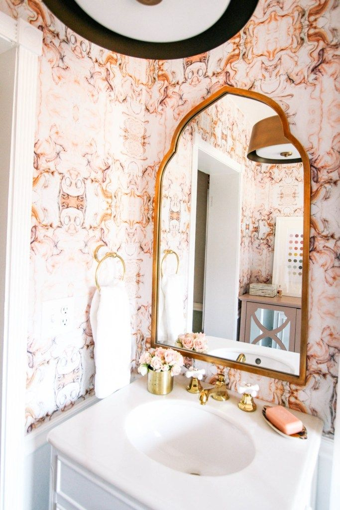 How Much My Bathroom Redo Cost At Home With Ashley Bathroom Redo Bathroom Wallpaper Pink Marble Wallpaper