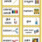 Classroom Organization Labels: Easy print sticker labels in yellow and purple - Staysha Rhoden