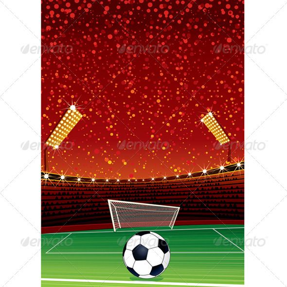 Soccer Stadium #GraphicRiver Football Background with Large Soccer Stadium.
