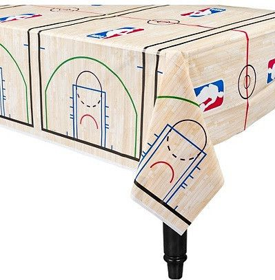 "This table cover is 54"" wide and 102"" long. It is perfect to complete your table during your party. This table cover is designed to look like a basketball court and is made out of quality plastic."