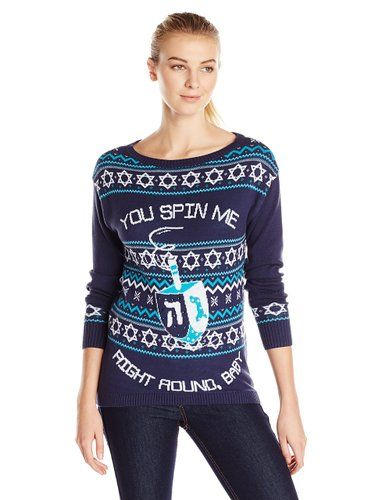 Here is brand new for 2015 ugly Hanukkah sweater for women. It is on sale and is made of 100% cotton.