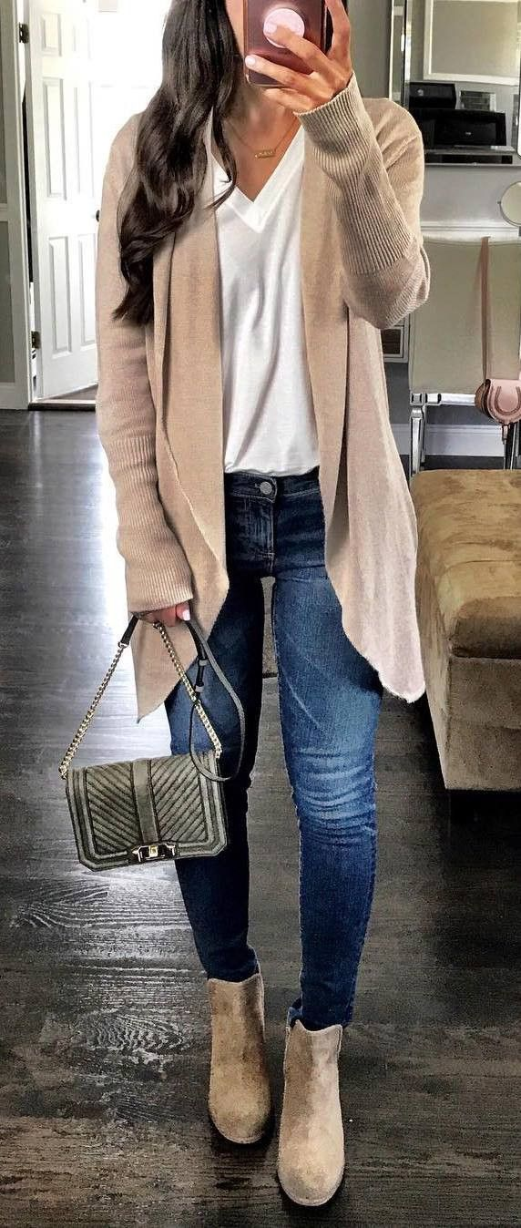 fashion trends/ nude cardigan + top + skinny jeans + bag + boots
