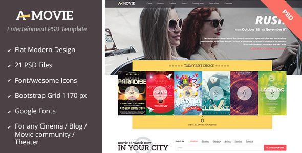 A.Movie - Cinema/Movie PSD Template - Film & TV Entertainment