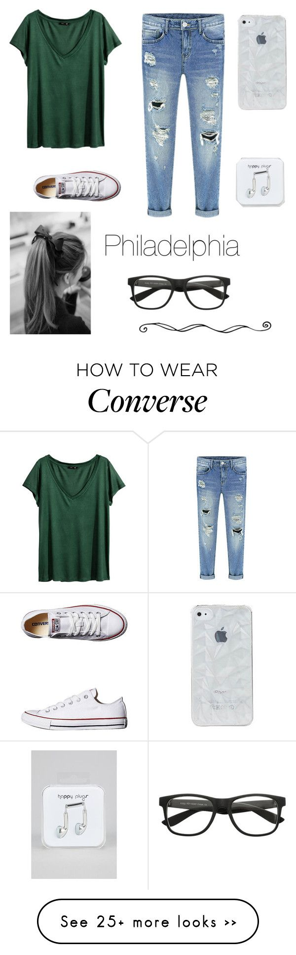 """Philadelphia"" by mariafe1231 on Polyvore featuring H&M, Converse, Happy Plugs, visitphilly and popeinphilly"