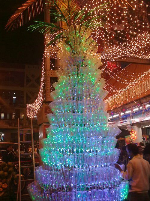 Christmas Trees In India Part - 26: Plastic Bottle Christmas Tree