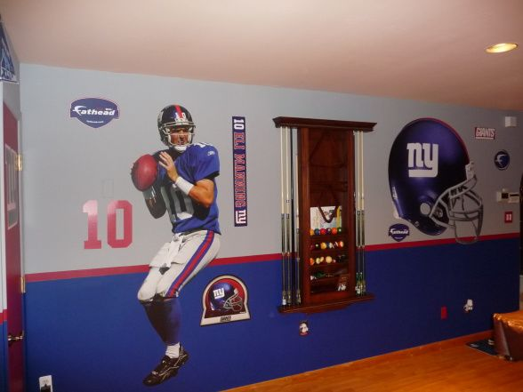 N.Y. Giants Theme Game Room!, This Space Was A Boring And Dull Living Room