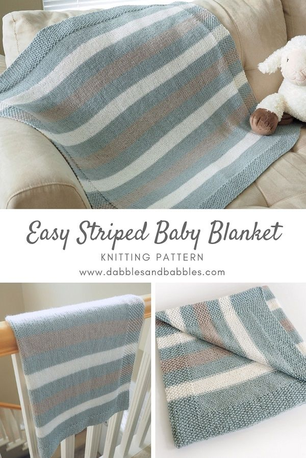 Easy Striped Baby Blanket Knitting Pattern Dabbles Babbles Striped Baby Blanket Easy Knit Blanket Baby Blanket Pattern