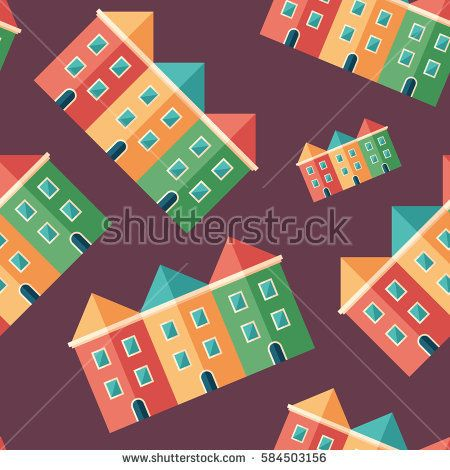 Houses flat icon seamless pattern. #buildingpattern #vectorpattern #patterndesign #seamlesspattern