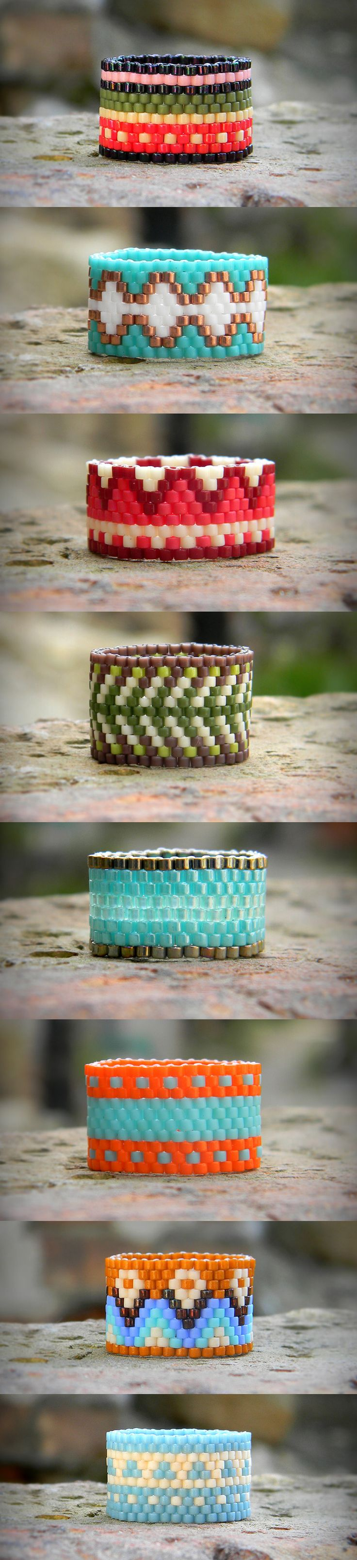 Peyote rings Seed Bead rings Wide band rings delica bead rings beaded rings beadwoven rings #beadwork #beading #peyotestitch #jewelry                                                                                                                                                                                 Más