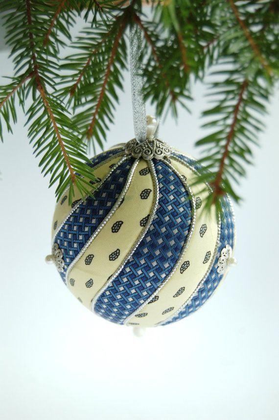 Blue yellow Christmas Ornament - Custom Ornament - Kimekomi ball - upcycled recycled repurposed