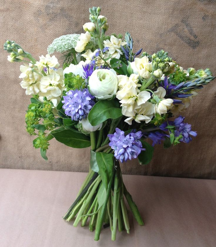 Bluebells, Stocks and Ranunculus Spring bouquet