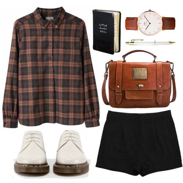A fashion look from October 2013 featuring black shorts, Dr. Martens and leather purse. Browse and shop related looks.