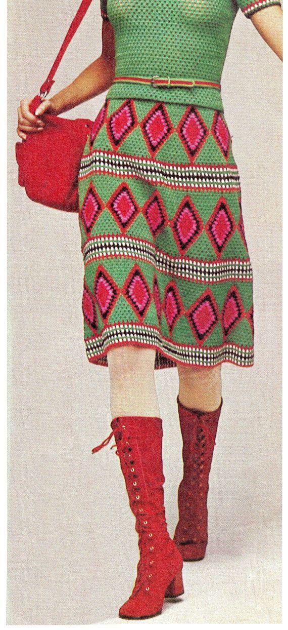 1970patrón de la falda del ganchillo retro s