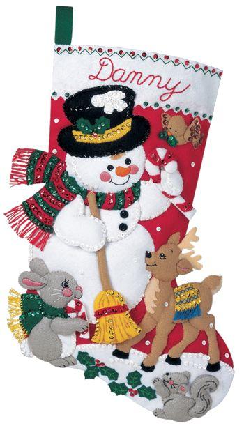 Snowman and Friends Bucilla Felt Applique Christmas Stockings Large